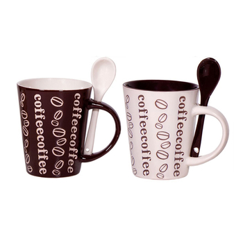 Set of 4 Cafe Style 10 Oz Stoneware Coffee Mug with Spoon, Brown and White Color