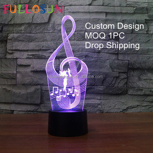 DJ-1004 Custom Design Night Light Creative 3D Lamp Music Element 3D Led Lamp for Home Decor