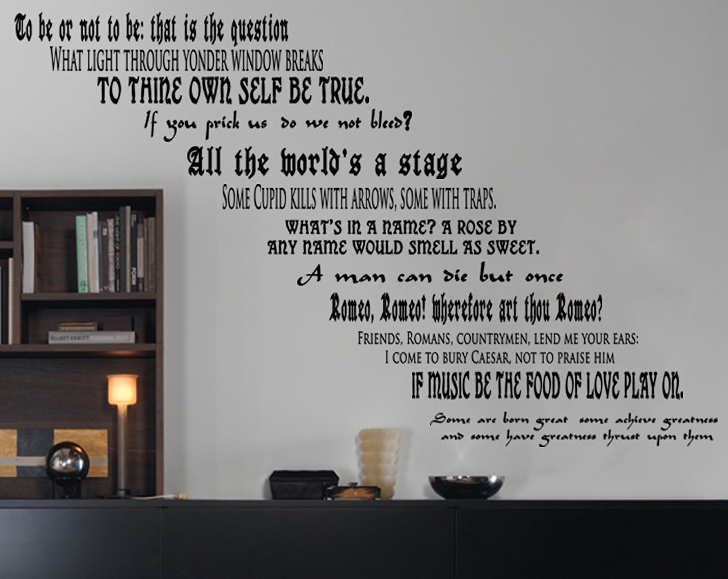 """GMDdecals® Shakespeare Play Quote Set LARGE Wall or Stairs Vinyl Wall Decor Decals [GLOSSY BLACK]- 24"""" x 2-4"""" each quote -Adhesive High Glossy Vinyl [3mil] **Made In USA**"""