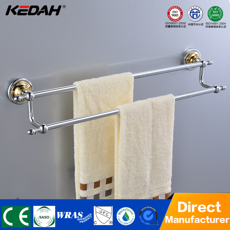KD-9102 hotel bathroom double towel bar brass chrome finishing wall mounted electric towel rail for towel handing