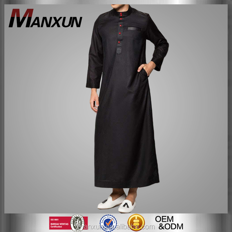 Jalabiya Dubai Jubba Men Designs Black Colour High Neck Design for Muslim Men Wear
