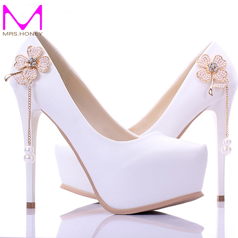 1 Inch Heels For Wedding: Cheap New Arrival Concise Elegant White Bridesmaid Shoes 5