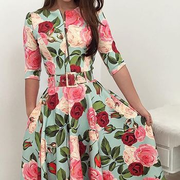 Party Floral New Dresses with Pleated Sleeves in 3D Floral Printing Woman Dress