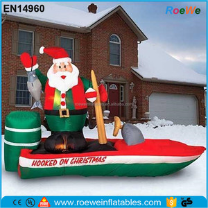 Santa Fishing In Boat Christmas Inflatable