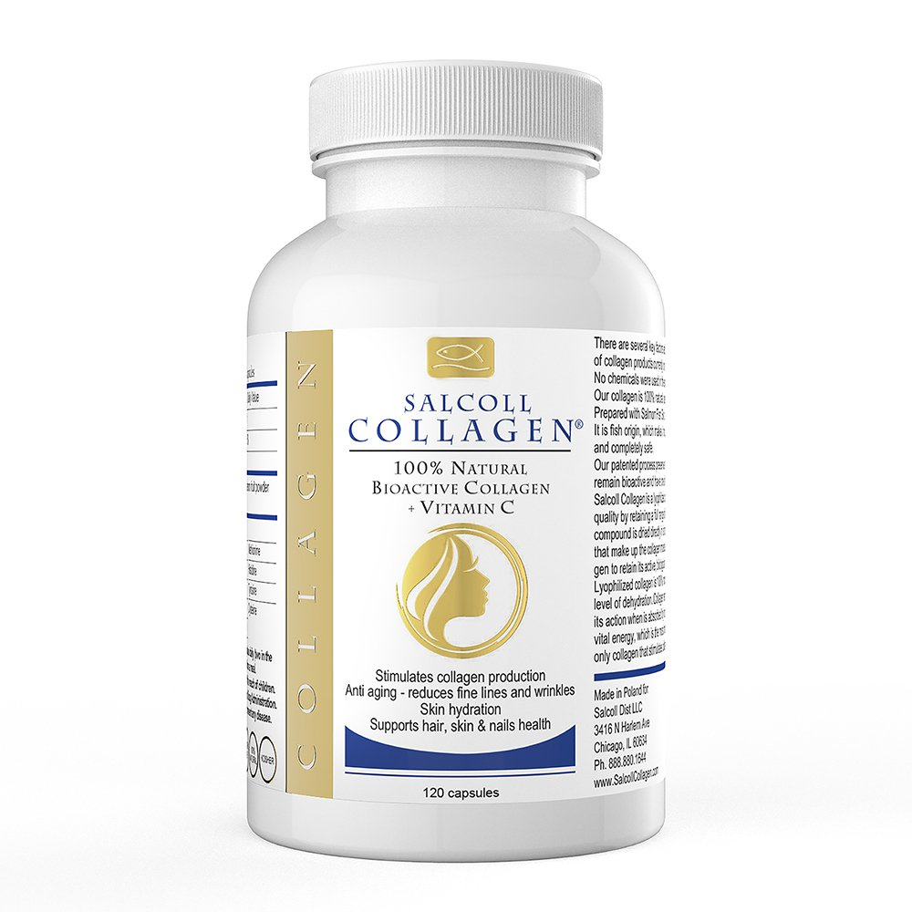 Salcoll Collagen Skin Capsules - Anti-Aging Supplements with Marine Collagen & Vitamin C - Anti-Aging Skin Care to Help Reduce Wrinkles - Supports Hair, Skin & Nails Health - 120 Capsules