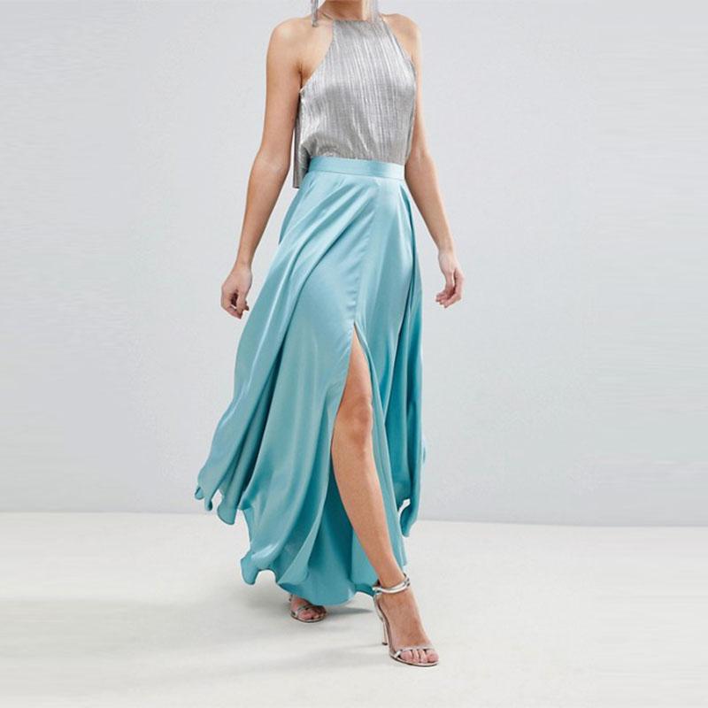 b82590df5 Ropa de mujer elegante de satén azul Maxi falda con falda centro de Split  frontal
