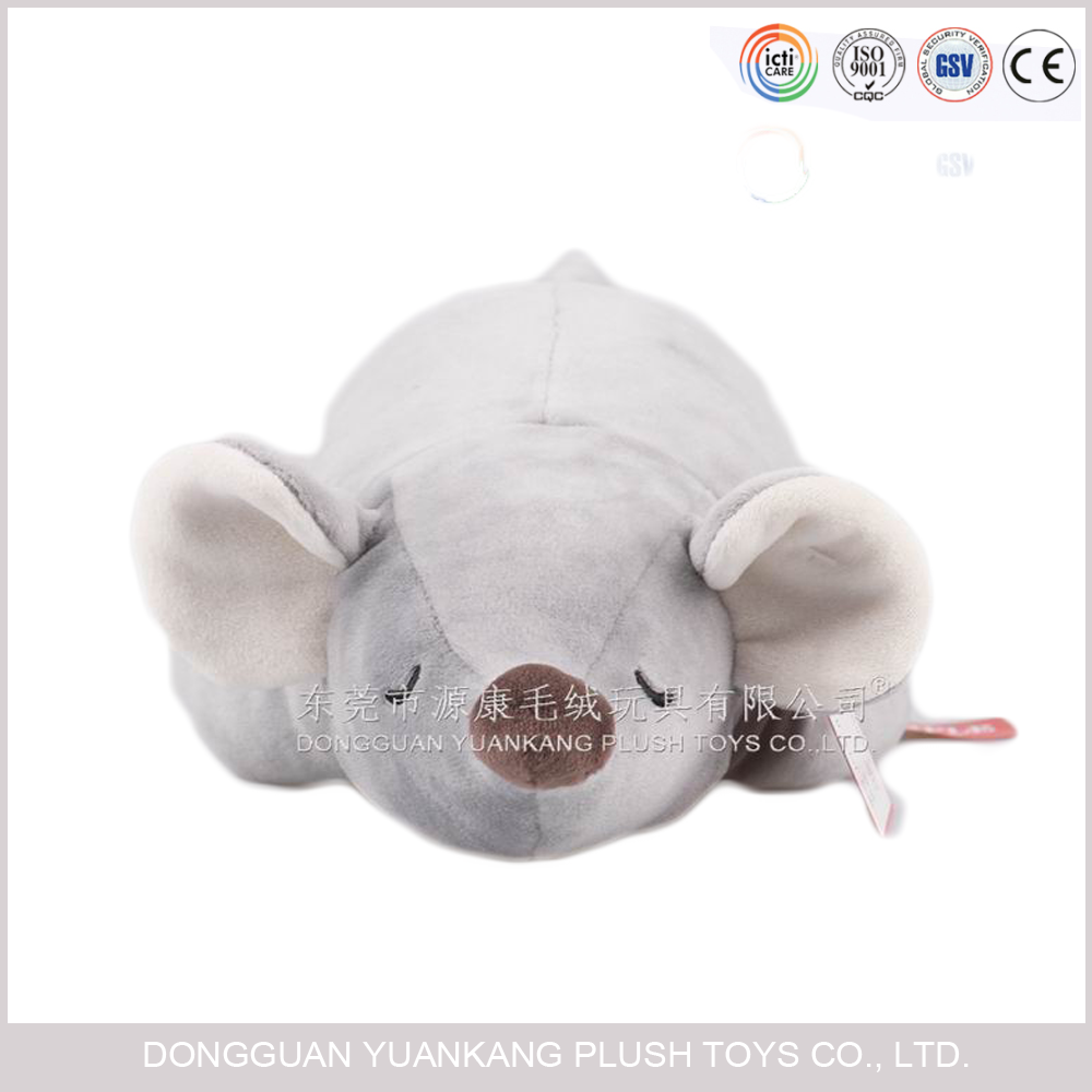 Small grey mouse plush toy with crawling position