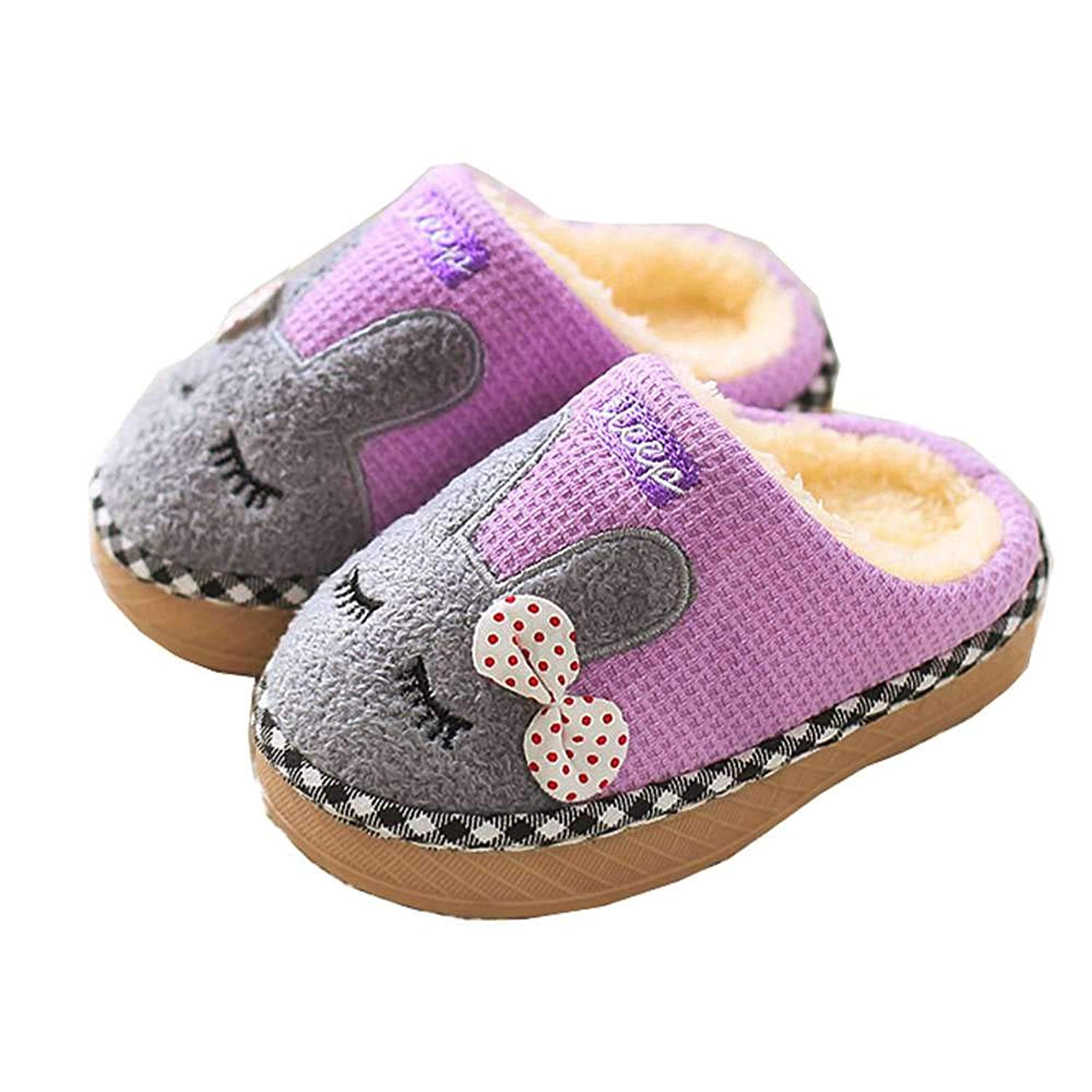 bdd9fc1fc1d Get Quotations · Kids Home Slippers Girls Boys Toddler Cute Bunny Fur Warm Winter  Indoor Shoes