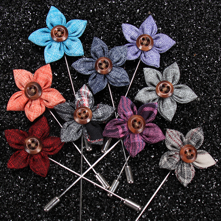 Free Shipping Stock Men's Fabric Brooch Mens Suit Flower Lapel Pin Button Sticker Flower Brooches for Wedding, 7 colors as photos