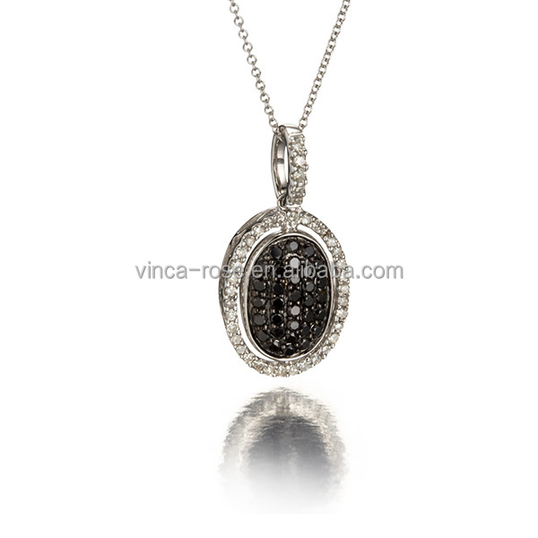 Modern yoneed jewellery supplies 925 sterling silver black and white cz agrima oval shape pendant necklace