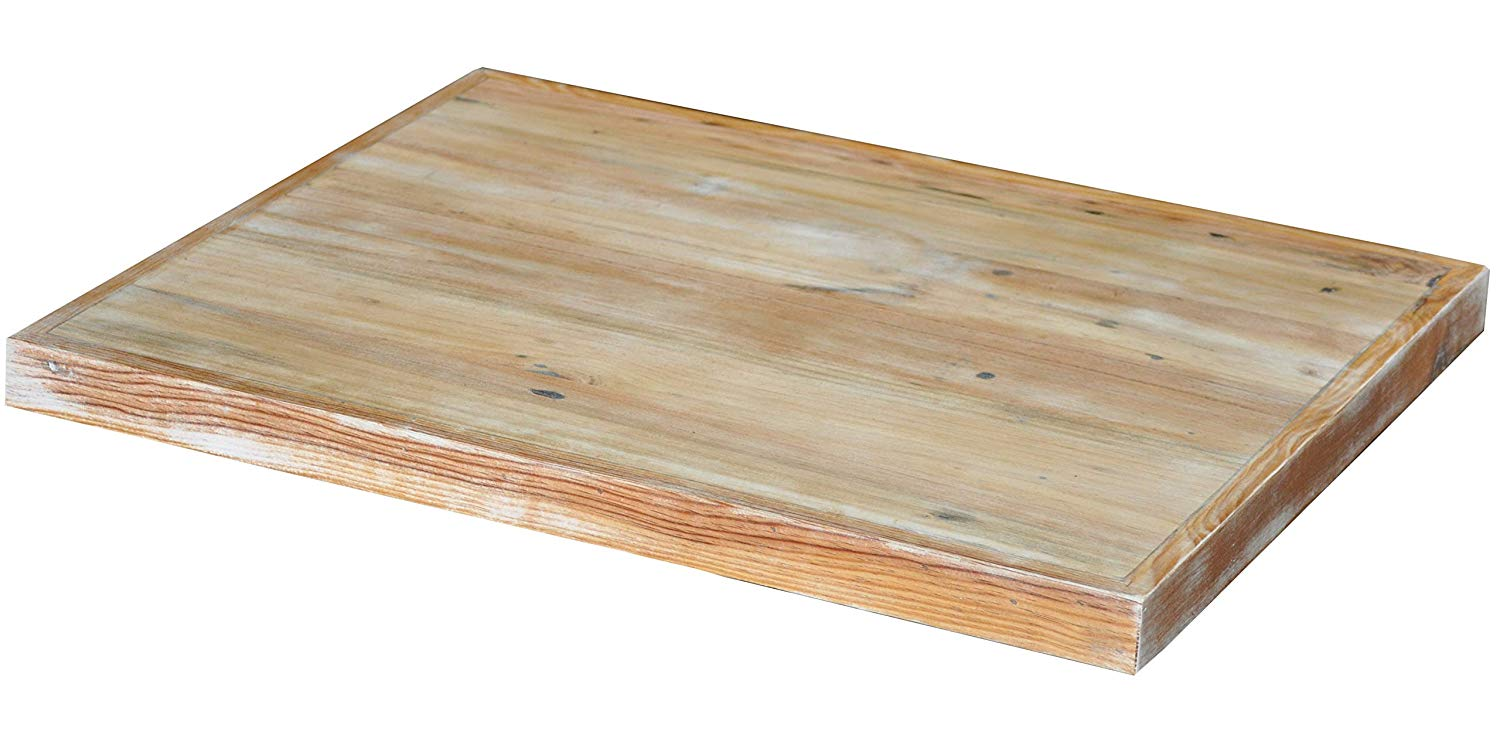 """Antique Rustic Reclaimed Wood Table Top 24"""" x 30"""" x 1.5"""" White Distech Antique Finish"""