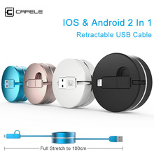 100cm 2 in 1 retractable USB charging Cable round box 8 pin For iPhone 5s 6 6 plus micro for Samsung android with storage box