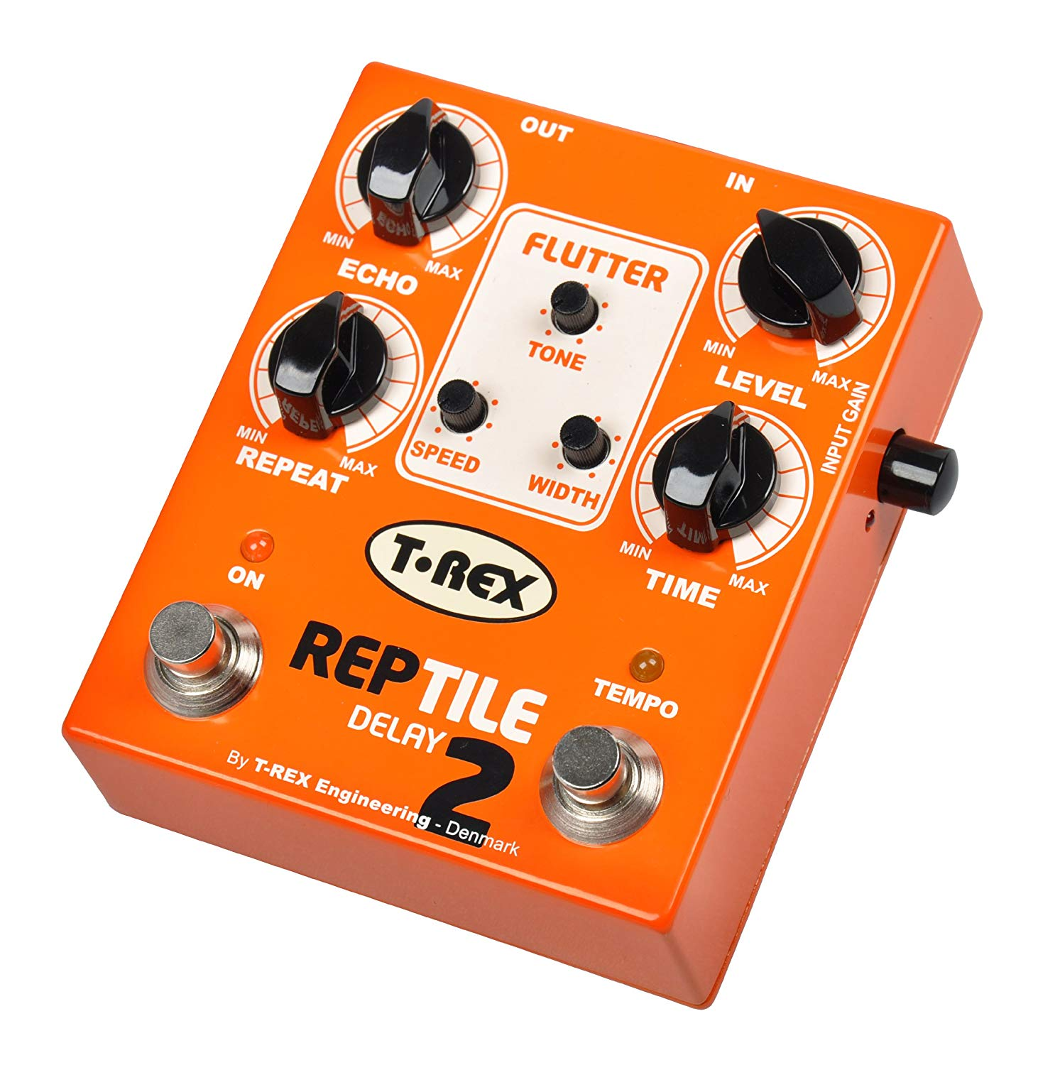 T-Rex Engineering REPTILE-2 Delay Guitar Effects Pedal with Active Tap Tempo and Flutter Controls; Simulates Vintage Analog Tape Echo Effects (10022)