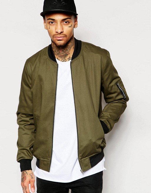 mens cotton twill MA 1 pocket olive green wholsale customized bomber jacket for men