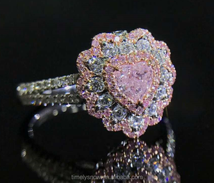 GIA New designed fashion sweet heart shape pink coloured diamond ring