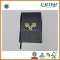 2017 New arrived leather notebook with Hot stamping logo,high quality note book/hardcover notebook with silk ribbon bookmark