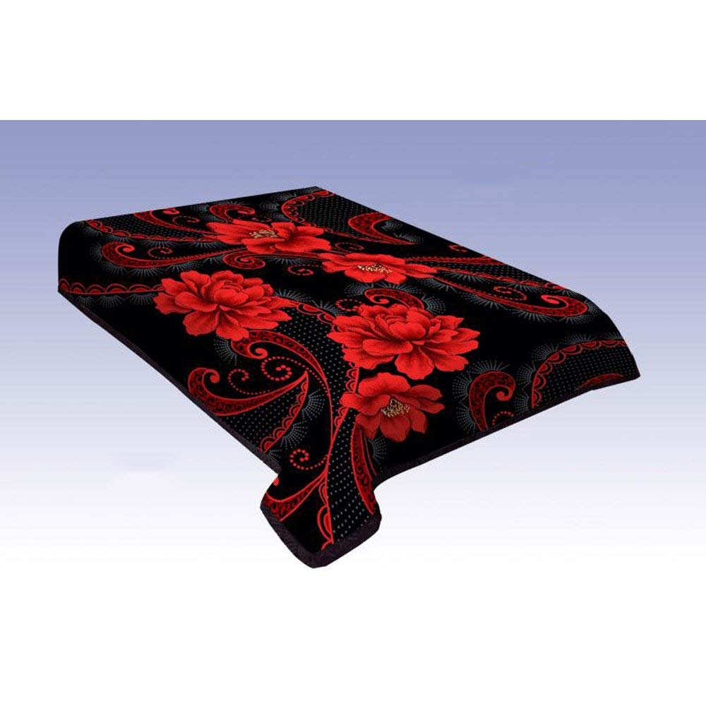 Ramano Collections King Size Korean Style Mink Blanket-10 Lbs Heavy Duty-Two Ply- Black/Red Embossed