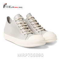 Latest Designer Italian Men Shoes Toe Cap Rubber Trimmed Leather Women Sneakers