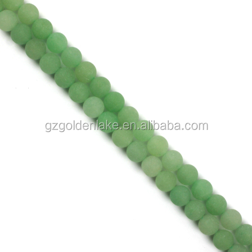 2017 China selling stone green aventurine matte gemstone round beads
