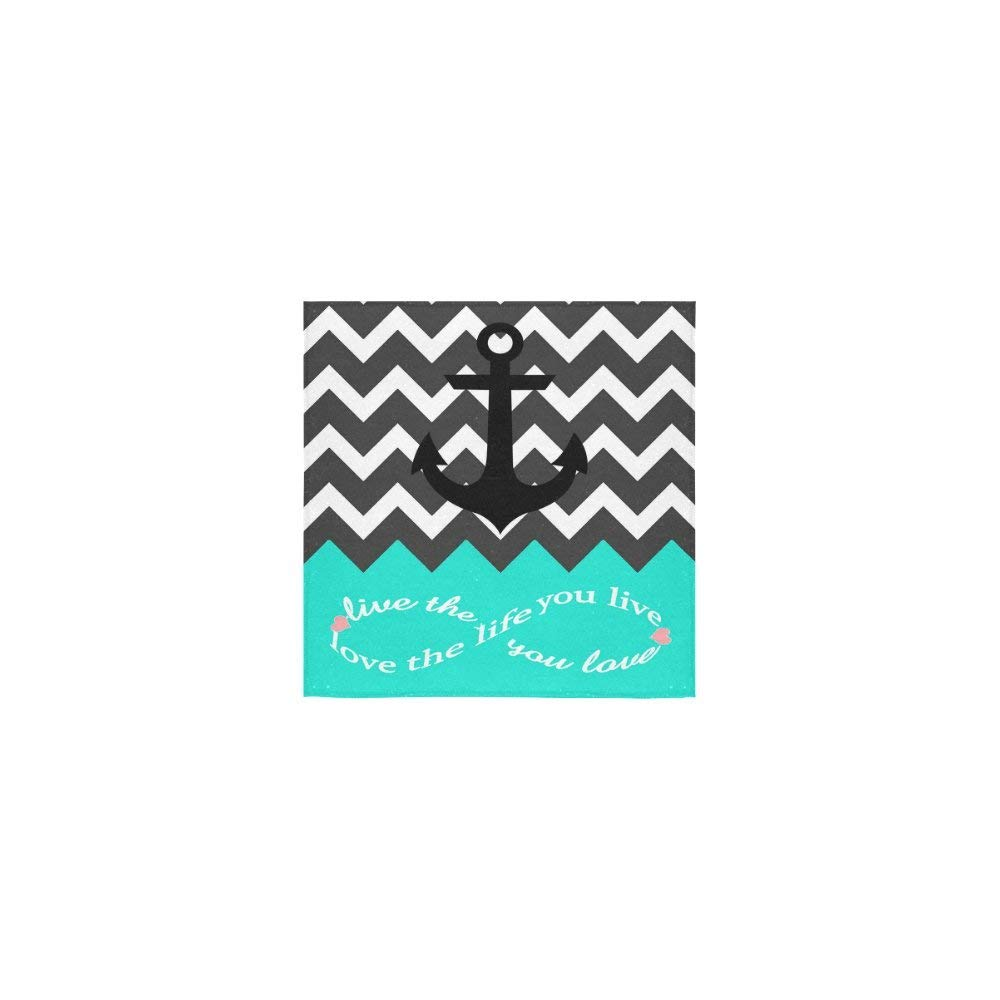 Love Infinity Forever Love Symbol Chevron Pattern With Nautical Anchor Turquoise Black White Pattern Thin Soft Towel(One Side)(13x13inches)