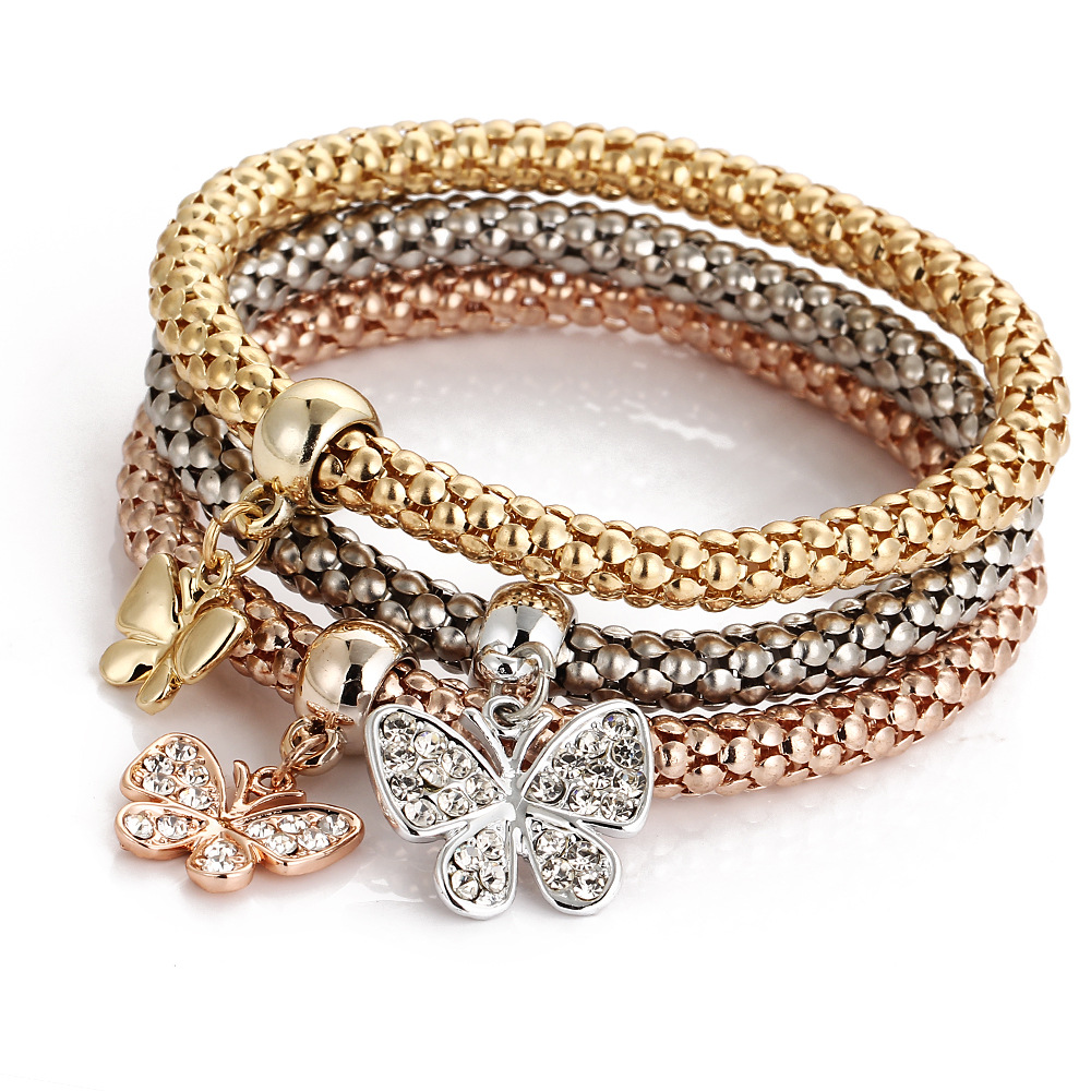 New Dainty Heart Butterfly Music Note Crown Life Tree Owl Bangle Bracelet 3 Color Bamboo Chain Charm Bracelet For Women, Gold/rose gold/silver