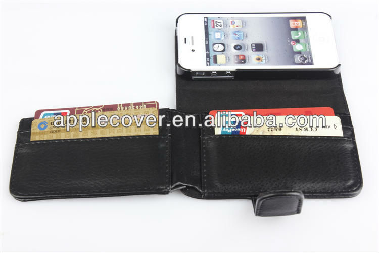 Credit card slot wallet leather case for iphone 4 , for iphone 4s leather case