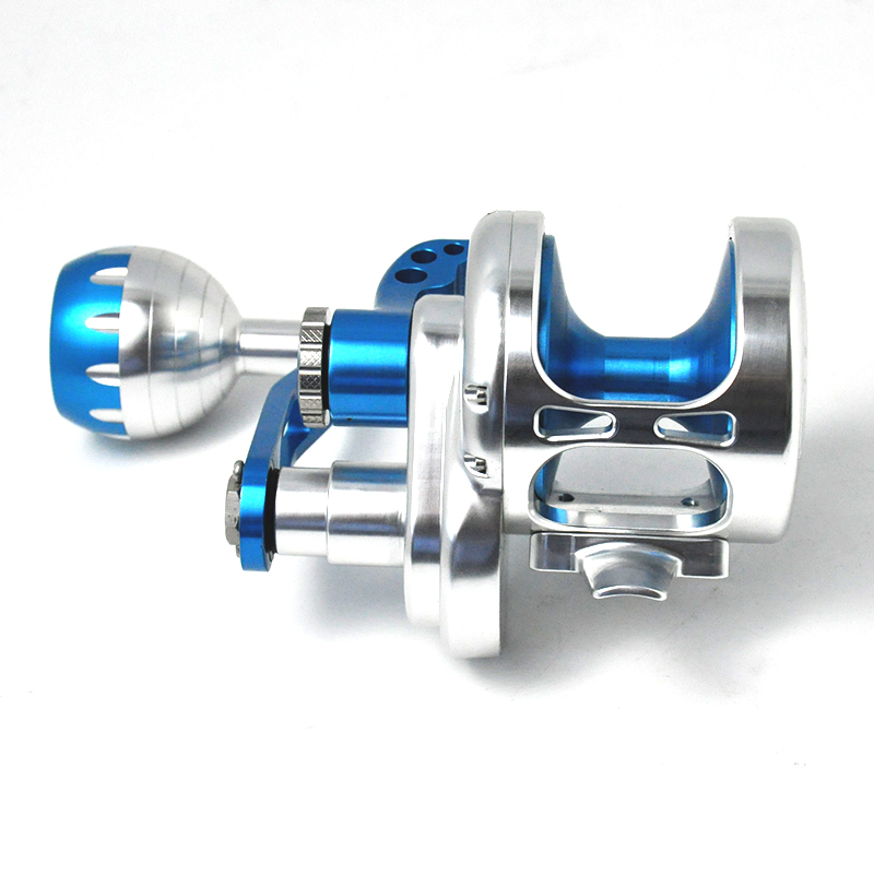 CNC overhead metal trolling spinning surf bait casting fly carp fishing reel slow jigging saltwater japan 2 speed fishing reels, Sliver blue