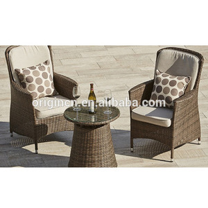 UK Simple design outdoor furniture glass top round coffee rattan table and high back paris bistro chair