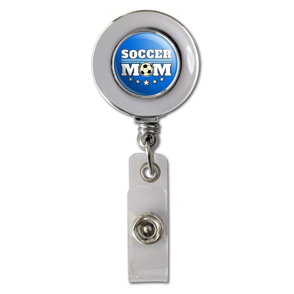 Soccer Mom Mother Sports Retractable Reel Chrome Badge ID Card Holder Clip