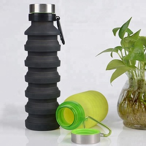Private Label BPA Free Outdoor Multifunction Water Bottle Gym Sport Folding Collapsible Silicone Water Bottle