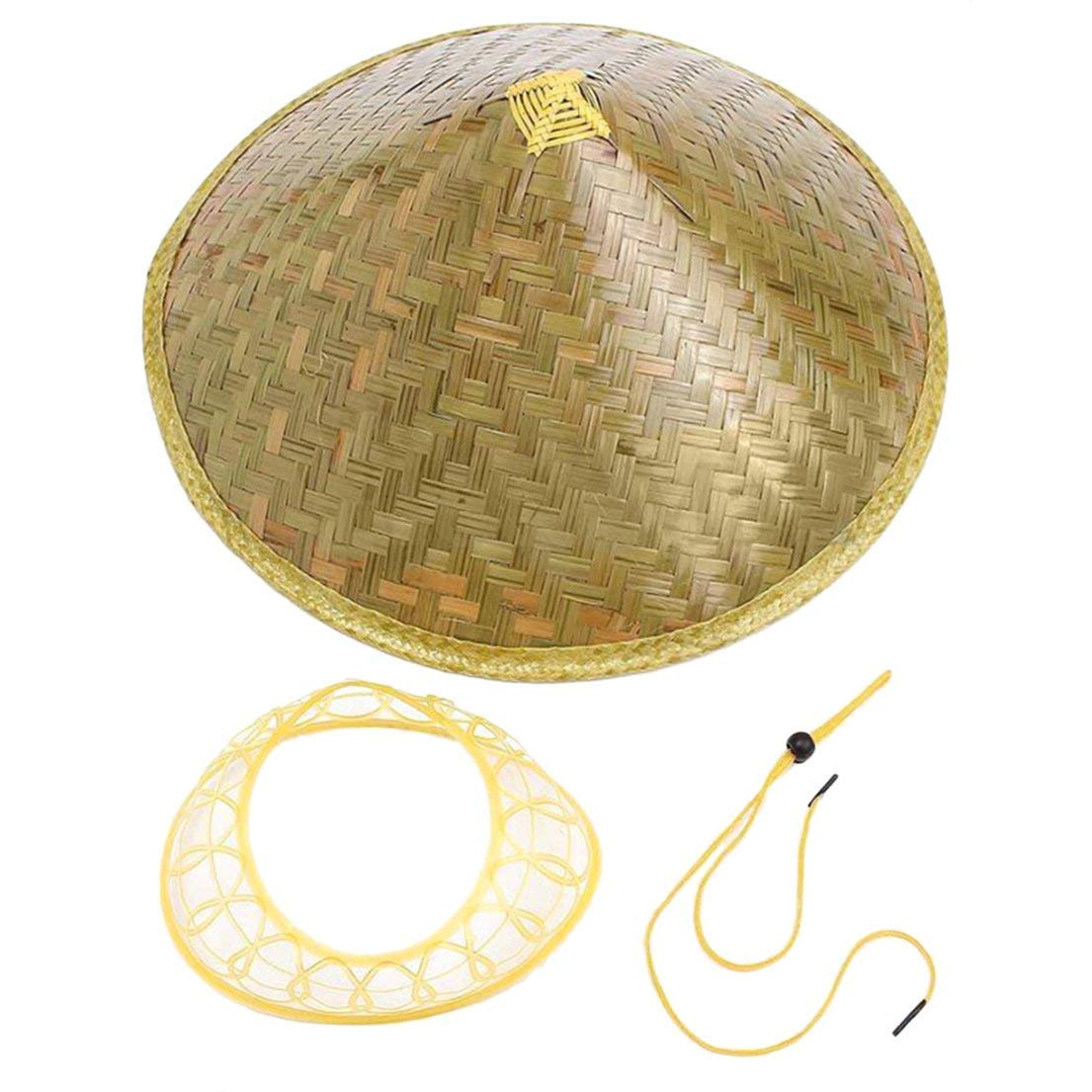 00019213e539d8 Get Quotations · Dynamovolition Chinese Oriental Coolie Sun Hat Brimmed Bamboo  Straw Hat Tourism Rain Cap Cone Conical Farmer