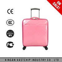 "16"" carry on cabin travel bags, PU leather kids cute trolley bags luggage"