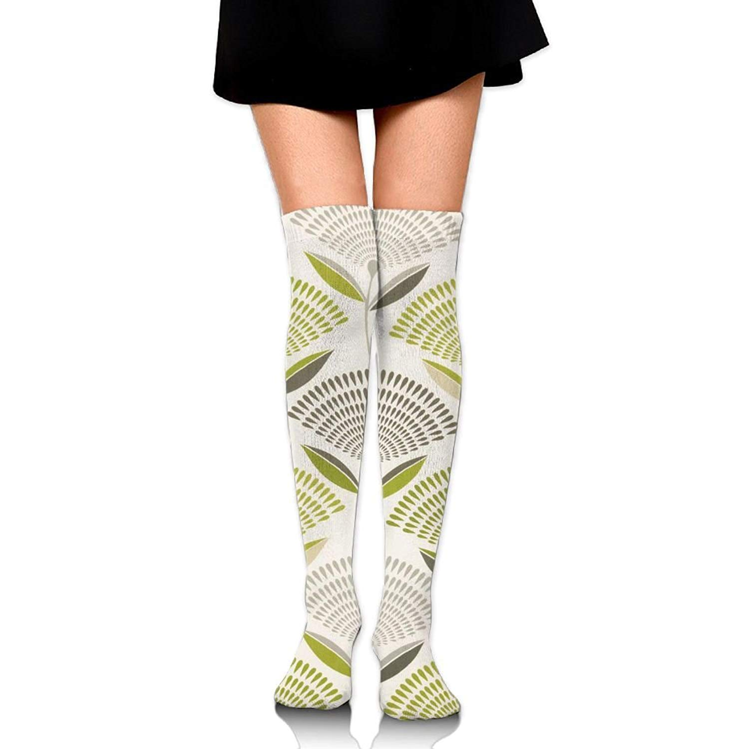 Zaqxsw Dandelion Plant Women Graphic Thigh High Socks Cotton Socks For Teen Girls