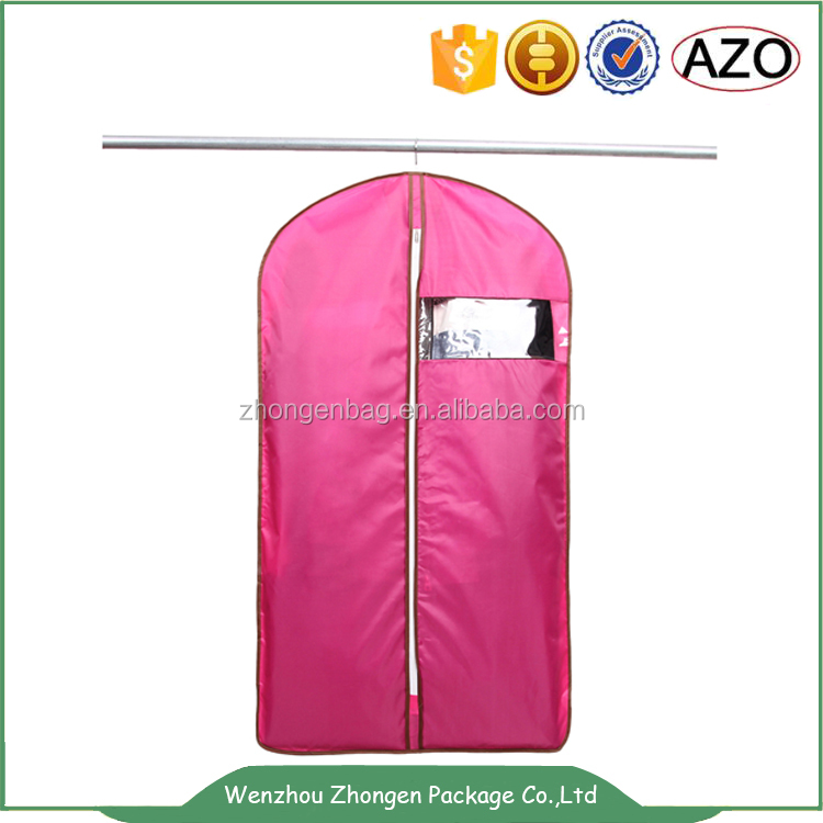 Personalised pink nylon zipper garment bag with transparent window