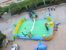 best popular and exciting inflatable basketball hoop&volleyball court interactive sport games