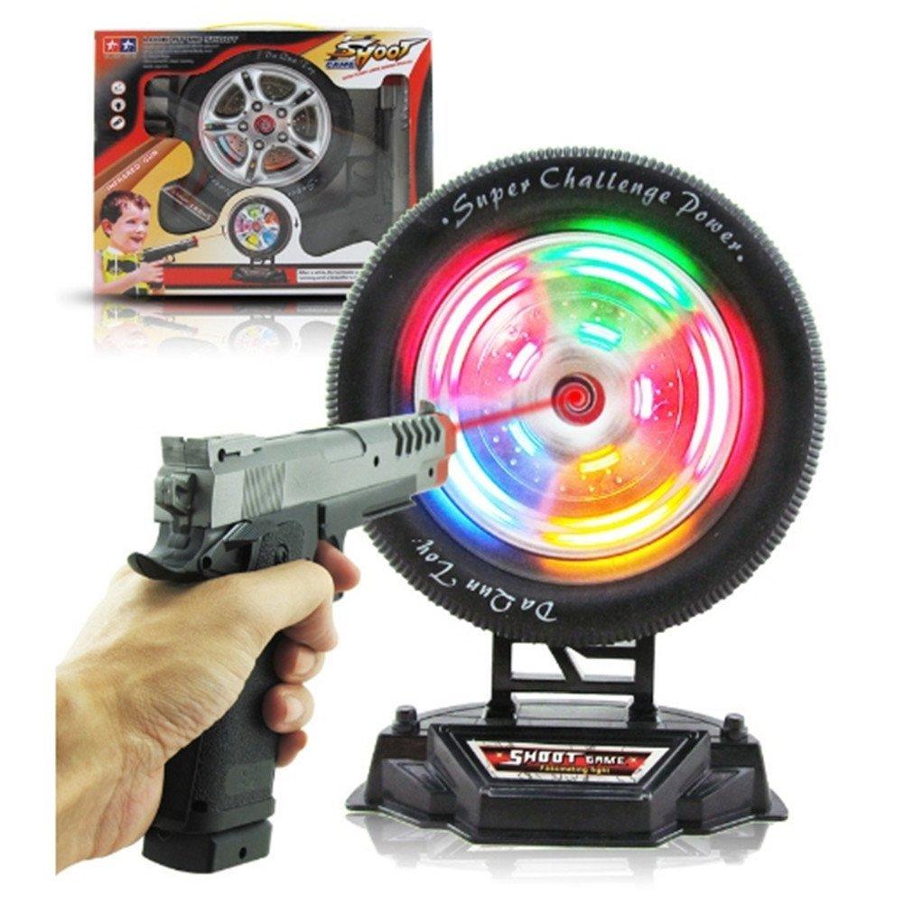 CHAKMEE Kids Infrared, Laser, Shooting Guns, Wheel Shooting, Light Music Toy