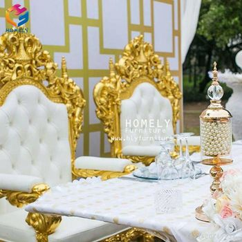Hotel Hall Gold Dragon King Throne Chair For Reception