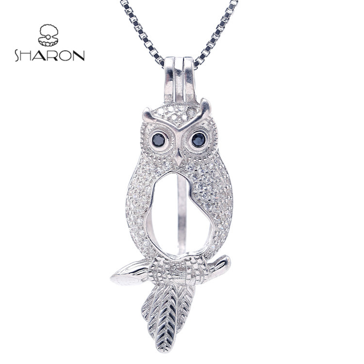 Animal Earring Jewelry Locket Sterling Silver Black-eyed Owl Pearl Cage Pendant S925 фото
