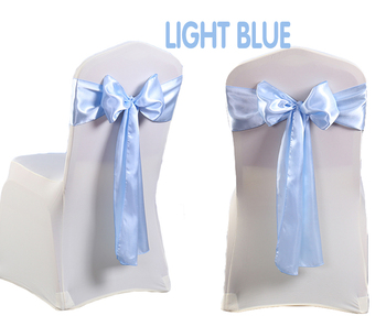 UNIHOME Factory Wholesal Satin Chair Sashes Light Blue Chair Cover Satin  Sashes For Wedding Party Decoration