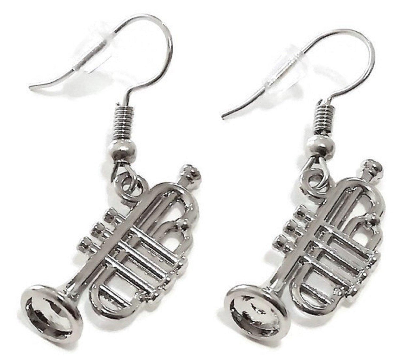 Kit's Kiss Trumpet Earrings, Music Earrings, Musical Instrument Earrings