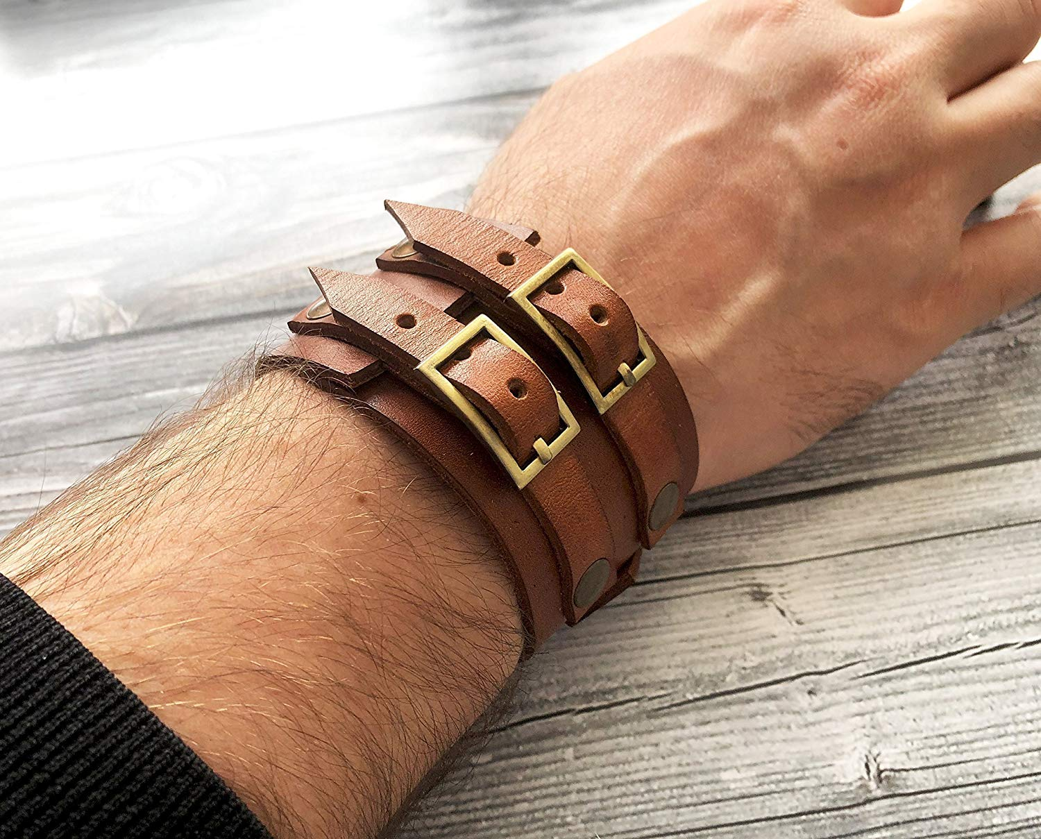 Leather bracelet Genuine leather wristband JOHNNY DEPP style leather bracelet Mens leather jewelry Mens bracelet First class leather cuff