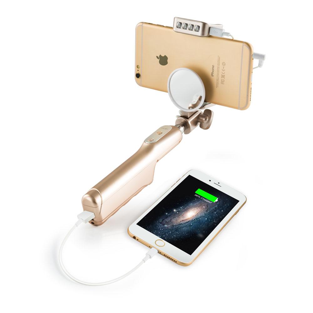 mlais selfie stick espejo para flash led luz de relleno incorporado mah banco