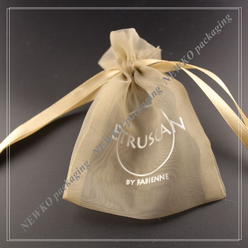 Best selling organza pen bag with logo print