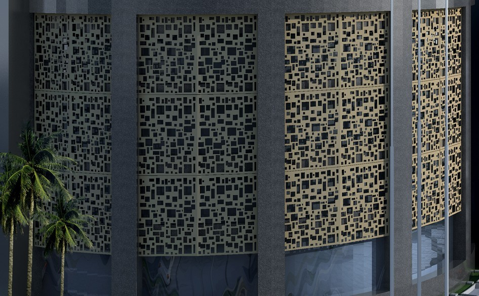 Decorative Exterior Panels : Aluminum laser cut outdoor metal screen for curtain wall