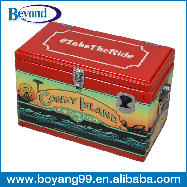 Retro metal cooler box corona gelo no peito