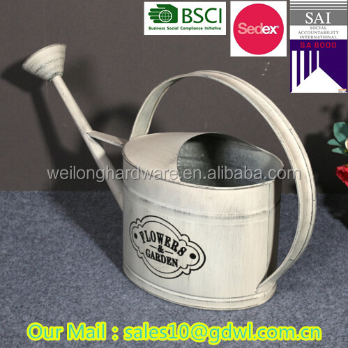 Decorative cheap oval metal watering can Galvanized white watering can antique flower planter