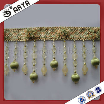 Green Plastic And Wood Beads Curtain Tassel Fringe Trim With New ...