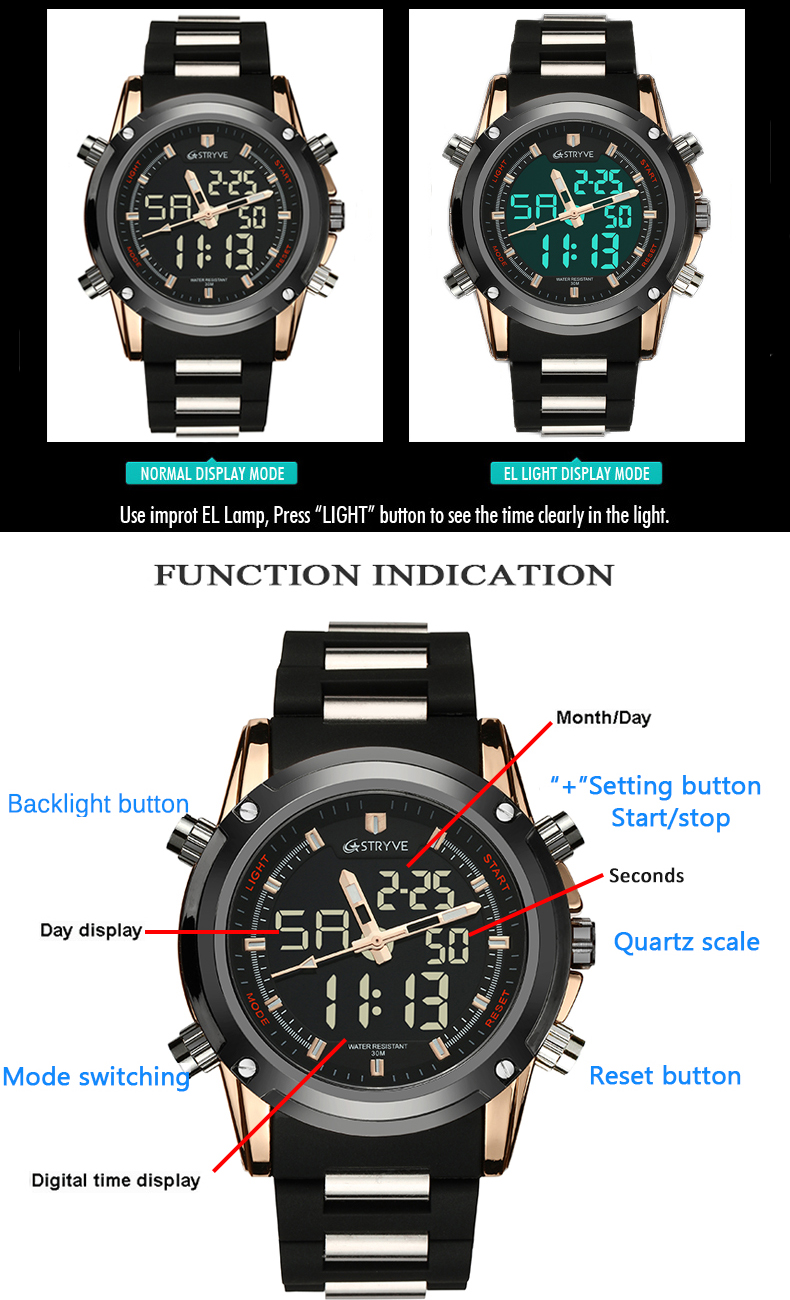 Military Sport Watch Men STRYVE Top Brand Luxury Famous Electronic LED Digital Wrist Watch Male Clock For Man Relogio Masculino
