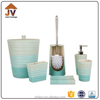 Elegant white and blue ceramic 6pcs bath accessories set for Blue and white bath accessories