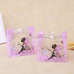 Eco-friendly square pvc bag clear custom gift/jelly/toys/cloth packaging bag with handle